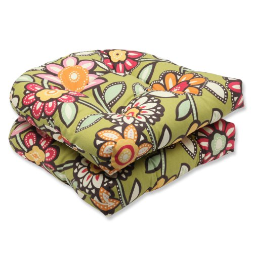Pillow Perfect Outdoor Wilder Kiwi Wicker Seat Cushion, Set of 2 image