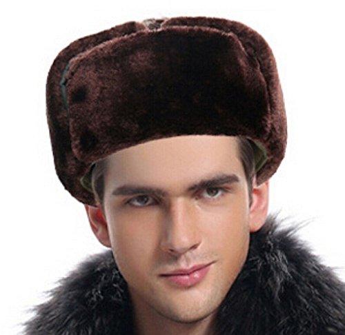 Eiza あたたか! ロシア 風 帽子 コサック メンズ ふんわり ファー 防寒 キャップ 将校 スタイル 軍人 ミリタリー (ダークグリーン)