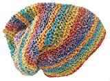 Beanie Cap Hemp Crocheted Rainbow Color Spring Summer Fall Light Weight Cap Earth Friendly Great for Outdoor Activity Beach Sking Hat Hand Made in Nepal