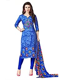 Printed Cotton Slik Dress Material With Neck Thread Work