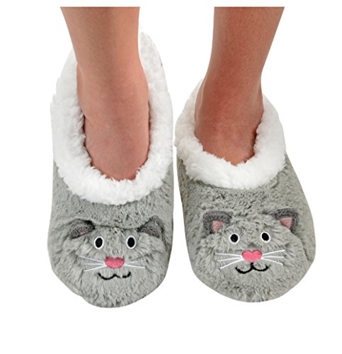 Snoozies Womens Animal Heads Sherpa Plush Fleece Lined Slipper Socks - Grey Cat, Large (Walmart Women Clothing compare prices)