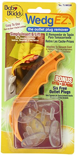 Baby Buddy WedgEZ Outlet Plug Remover with 6 Bonus Plugs, Orange/Clear