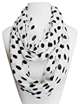 Polka Dot Lightweight Black and White Infinity Circle Scarf (White/Black)