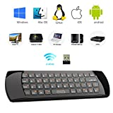 Rii K25 3 in 1 Multifunction Portable 2.4GHz Mini Wireless Fly Mouse Keyboard,And IR Infrared Remote Control With Rechargable Li-ion Battery For PC,Laptop,Raspberry PI 2,HTPC, IPTV, Google Android Box, Smart TV ,Windows 2000 XP Vista 7 8 10 (Black)
