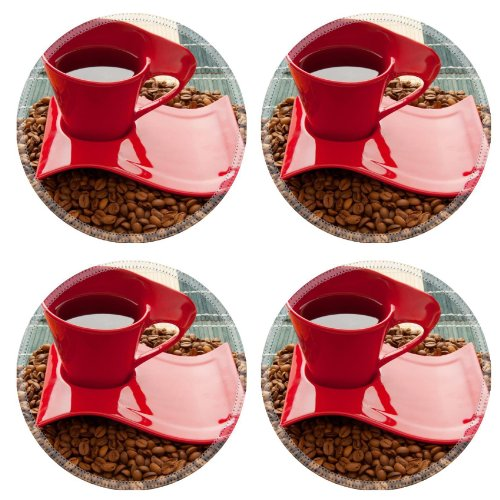 Cup Coffee Plate Grains Mat Round Coaster (4 Piece) Set Fabric Rubber 5 Inch Size Liil Coaster Cup Mug Can Water Bottle Drink Coasters Stain Resistance Collector Kit Kitchen Table Top Desk