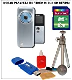 Kodak Playfull HD Video Camera (Blue/Sliver) + 8 GB SD HDMI Starter Bundle