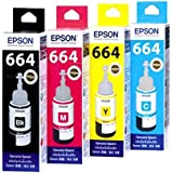 Original Epson Ink All Colors (T6641-B,T6642-C,T6643-M,T6644-Y) 70 Ml Each For L100/L110/L200/L210/L300/L350/L355...