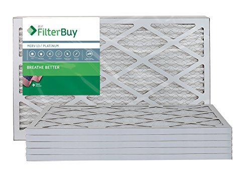 AFB Platinum MERV 13 12x20x1 Pleated AC Furnace Air Filter. Pack of 6 Filters. 100% produced in the USA.