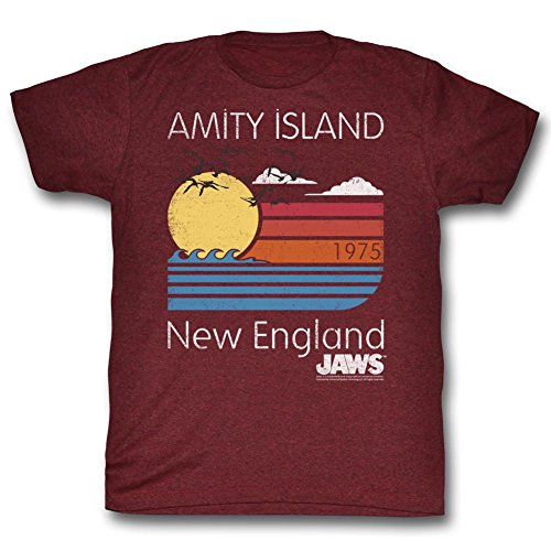 Official Jaws - Mens Sunset T-Shirt, Cranberry Heather - S to XXL