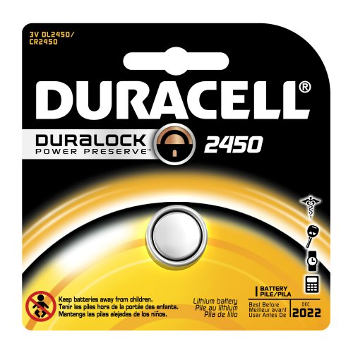 Duracell Dl2450 Lithium Coin Battery, 2450 Size, 3V, 540 Mah Capacity (Case Of 6)
