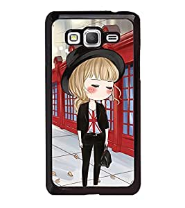 Fuson Premium 2D Back Case Cover Cute office Girl With Black Background Degined For Samsung Galaxy Grand Prime G530h
