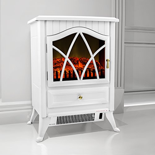 "Firebird 16"" European Style Freestand Modern Electric Fireplace Heater Stove Fb-P2D81-Wht"