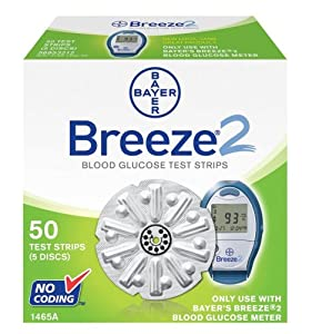 Bayer Breeze2 Blood Glucose Test Strips, 5 Discs (50 Test Strips)