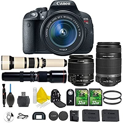 Canon EOS Rebel T5i 18.0 MP CMOS Digital Camera Digital SLR Camera + Canon EF-S 18-55mm IS STM + Canon EF-S 55-250mm IS STM + 500mm Preset Telephoto + 650-1300mm Lens + 2pc 32GB Memory Cards