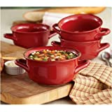 Daily Chef 4 Pack Fireside Soup Bowl - Red