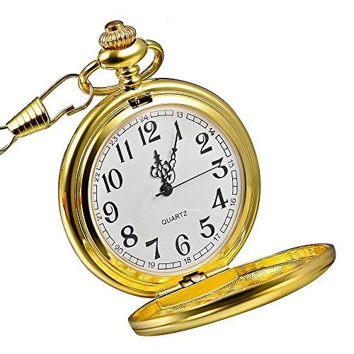 Mudder Classic Smooth Vintage Golden Steel Mens Pocket Watch Birthday Gift