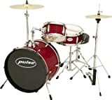 Pulse 3-Piece Deluxe Junior Drum Set Wine Red