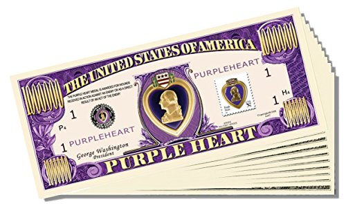 Purple Heart Million Dollar Bill - 25 Count with Bonus Clear Protector & Christopher Columbus Bill