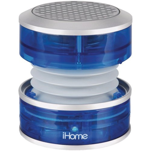 Ihome Rechargeable Mini Portable Speaker, With Vacuum Bass Speaker Technology, And Usb Plug For Charging Speaker And Audio Plugs For Connecting To Audio Source, Collapsible Design For Ultimate Portability, Power And Charging Led Indicators, Blue Transluce front-493778