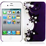 Cadorabo ! TPU Hard Cover f�r Apple Iphone 4 / 4S / 4G im Muster Lila Blume