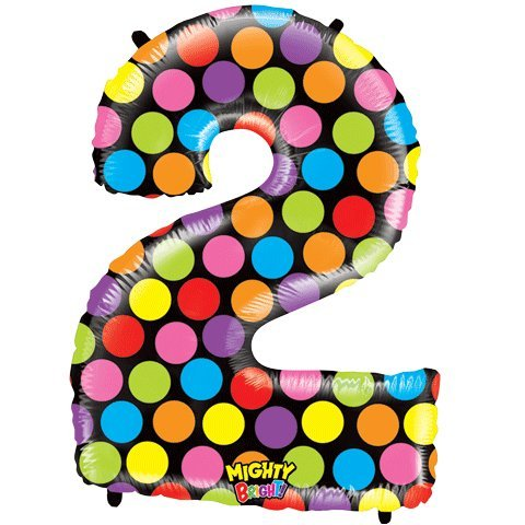 "Number Two Mighty Bright Polka Dot Megaloon 40"" Mylar Foil Balloon - 1"