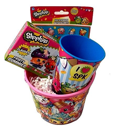 Shopkins Birthday Gift Basket Bundle Mega Season 5 Game Cards Surprise Toy Figure Food Fair Mystery Surprise Easter Favor Container Snow Crush Lolli Pokins Cup