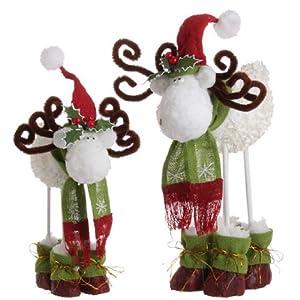 "Set of 2 Rustic White Hydrangea Festive Moose Christmas Figures 13-16"""