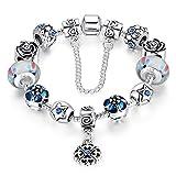Love Beads Charms Bracelet for Girls and Women Murano Glass Beads Rose Flower Charms Amethyst Bracelets (Lucky clover bracelet)