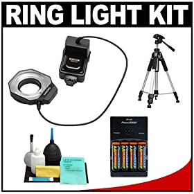 Bower SFD14N Digital Macro Close Up Ring Light Flash Tripod Batteries Charger Accessory Kit For Nikon D5000 D3100 D3000 D7000 D300s D300 D90