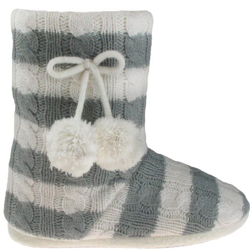 Cheap Capelli New York Striped Cable Boot With Tie And Pom Ladies Indoor Slipper (B005MJZ0SQ)