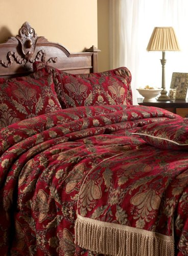 Shiraz Comforter Bedspread, Burgundy/Gold, Double
