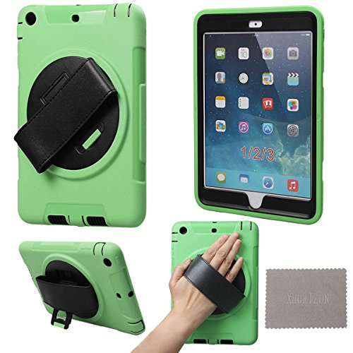 xhorizon TM High Quality Robust Hardshell Portable Handheld Rotating Holder Impact & Splash Resistant Case Cover With PU Leather Hand Strap [Suitable for commuting on the train] And Stand Function For Apple iPad mini 1/2/3 And Free Cleaning Cloth ZA5