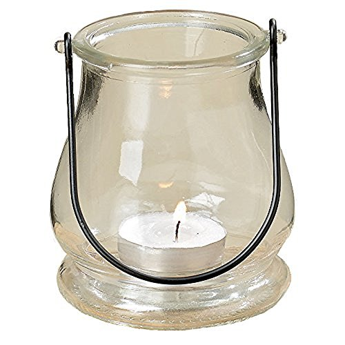 The Rustic Bell Shaped Clear Glass Air Plant Holder, Terrarium or Votive Candle Hurricane with Handle, 4