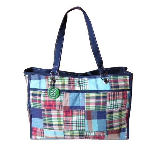 C-Red Preppy Madras Reversible Carry All Tote, Pink/Green
