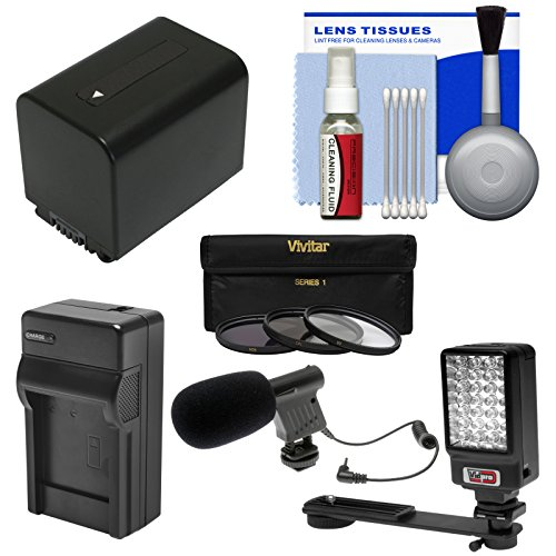 Essentials Bundle For Sony Handycam Hdr-Pj540 & Hdr-Pj810 Camcorder With Led Light + Microphone + Np-Fv70 Battery & Charger + Filters Kit