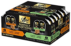 Sheba 12-Count Perfect Portions Chicken and Turkey Poultry Pate in Natural Juices Variety Pack Canned Wet Food for Cats, 3-Ounce, 2-Pack