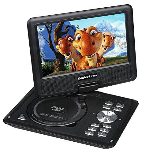 """Koolertron - Lecteur DVD Portable écran 9.5"""" TFT LCD Rotation de 270 ° Region-Free MP3 MP4 TV SD DIVX USB Jeux Batterie Rechargeable Tlécommande - Noir"""