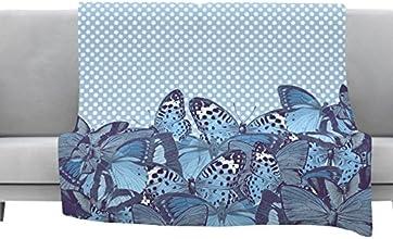 Kess InHouse Suzanne Carter quotButterfly Bluesquot Aqua Fleece Throw Blanket 80 by 60quot