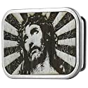 Jesus Gilded Wood Belt Buckle
