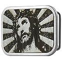 Jesus Gilded Wood Belt Buckle