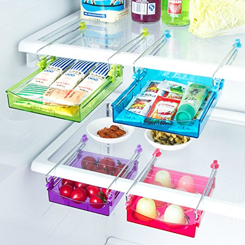 ALPHELIGANCE Kitchen Refrigerator Partition Storage Rack Office Table Drawer Space Saver Shelves Organizer 5.9x4.7x0.9 inch (4 pack) (Deli Shoes compare prices)