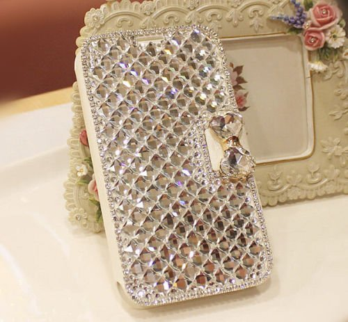 Xdaysdays® Luxury 3D Bling Crystal Rhinestone Wallet Leather Purse Flip Card Pouch Cover Case for Smart Mobile Phones (ZTE Grand X Max 2 /Max Duo LTE Z962G, White Crystal) (Mobile Covers For Grand 2 compare prices)