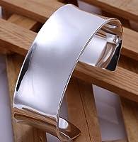 Elegant .925 Sterling Silver Wide Cuff Bangle Bracelet High Polish Finish from SXL