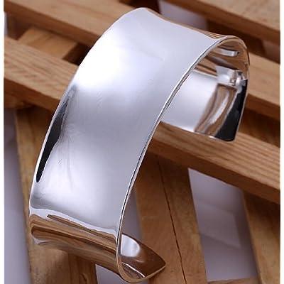 Elegant .925 Sterling Silver Wide Cuff Bangle Bracelet High Polish Finish sale 2015