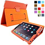 Snugg iPad Air 2 Case - Smart Cover with Flip Stand & Lifetime Guarantee (Orange Leather) for Apple iPad Air 2 (2014)