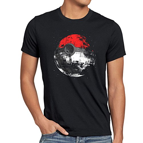style3 Poke Death T-shirt da uomo morte nera star ball monster, Dimensione:L
