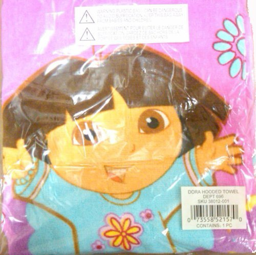 Dora the Explorer Hooded Bath Towel Poncho - Pink - 1