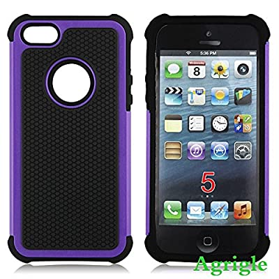 iPhone 5 Case,iPhone 5S Case,Agrigle Shock- Absorption / High Impact Resistant Hybrid Dual Layer Armor Defender Full Body Protective Cover Case For iPhone 5/5S by iphone 5 iphone 5s iphone 5c  iphone 5 case waterproof,iphone 5 case wallet,iphone 5 case sp