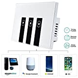 WiFi Smart Light Switch, HOSYO 3 Switches Touch Wall Plate Alexa Light Switch, In-Wall Wireless On/Off Wall Switch, Timing, Voice App Remote Control, Compatible with Amazon Alexa