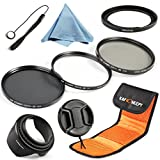 K&F Concept 67mm 3pcs UV CPL ND4 Lens Accessory Filter Kit UV Protector Circular Polarizing Filter Neutral Density Filter for Canon 7D 700D 600D 70D 60D 650D 550D for Nikon D7100 D80 D90 D7000 D5200 D3200 D5100 D3200 D5300 DSLR Cameras + SX50 Adapter Rin